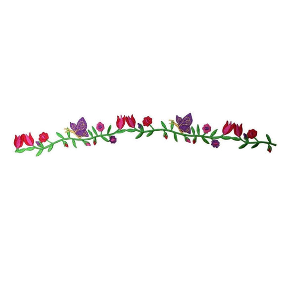 ID 6948 Flowers On Vine Patch Garden Nature Strip Embroidered Iron On Applique