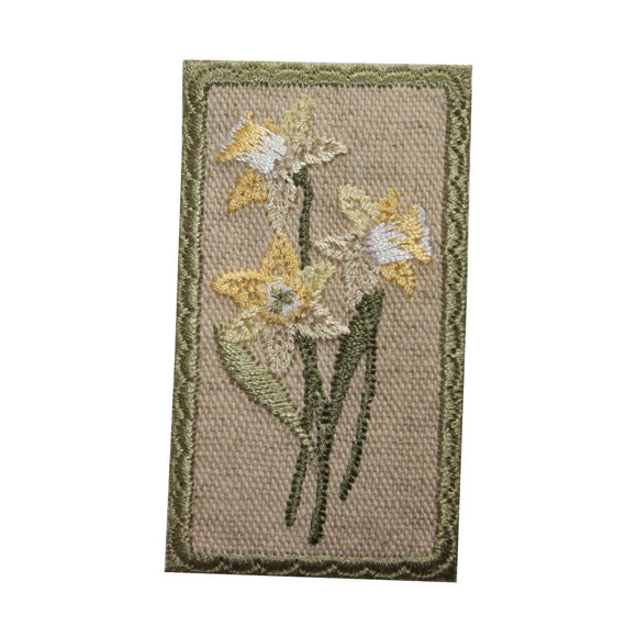 ID 6984 Honey Suckle Flower Badge Patch Garden Sign Embroidered Iron On Applique