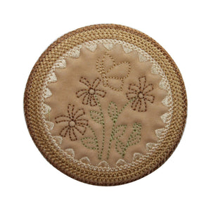 ID 6994 Stitched Flower Badge Patch Garden Symbol Embroidered Iron On Applique