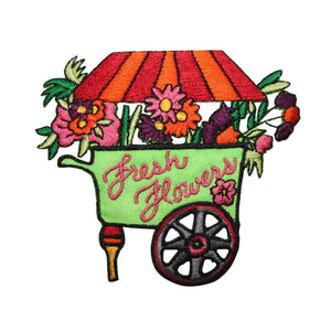 ID 7023 Fresh Flowers Cart Patch Garden Plant Vendor Embroidered IronOn Applique