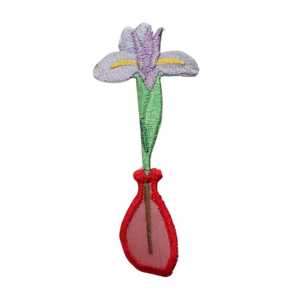 ID 7038 Orchid In Vase Patch Garden Flower Decor Embroidered Iron On Applique