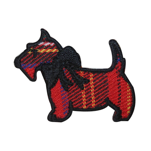 ID 2845A Plaid Scottish Terrier Patch Dog Puppy Pet Embroidered Iron On Applique