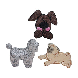 ID 2847ABC Set of 3 Assorted Dog Patches Puppy Pet Embroidered Iron On Applique