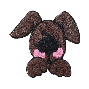 ID 2847B Cute Puppy Face Patch Mutt Begging Embroidered Iron On Applique