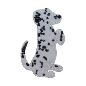 ID 2851B Fluffy Dalmatian Begging Patch Fireman Dog Embroidered Iron On Applique