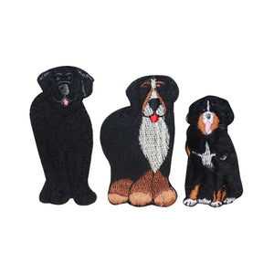 ID 2862ABC Set of 3 Assorted Fuzzy Dog Patches Pet Embroidered Iron On Applique
