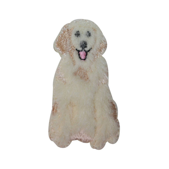 ID 2865A Fluffy Golden Retriever Patch Fuzzy Dog Pet Embroidered IronOn Applique