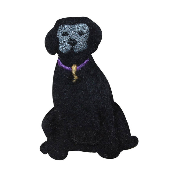 ID 2865E Fluffy Black Lab Patch Fuzzy Dog Puppy Embroidered Iron On Applique