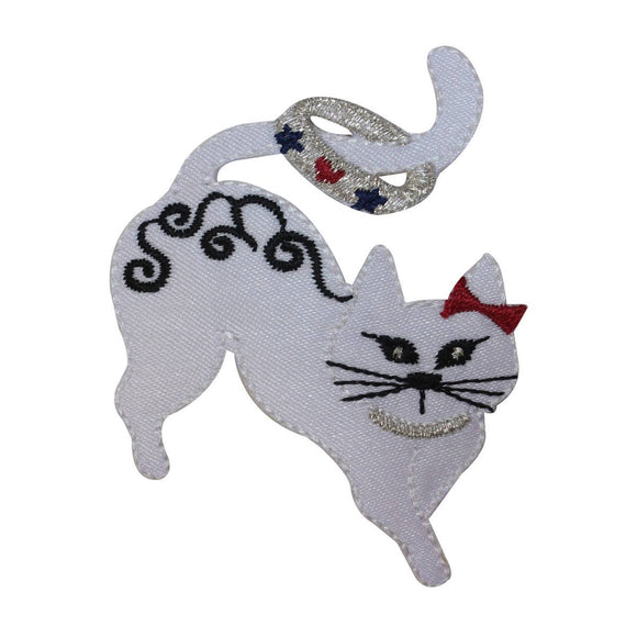 ID 2881 Fancy Cat With Collar Patch Kitty Kitten Embroidered Iron On Applique