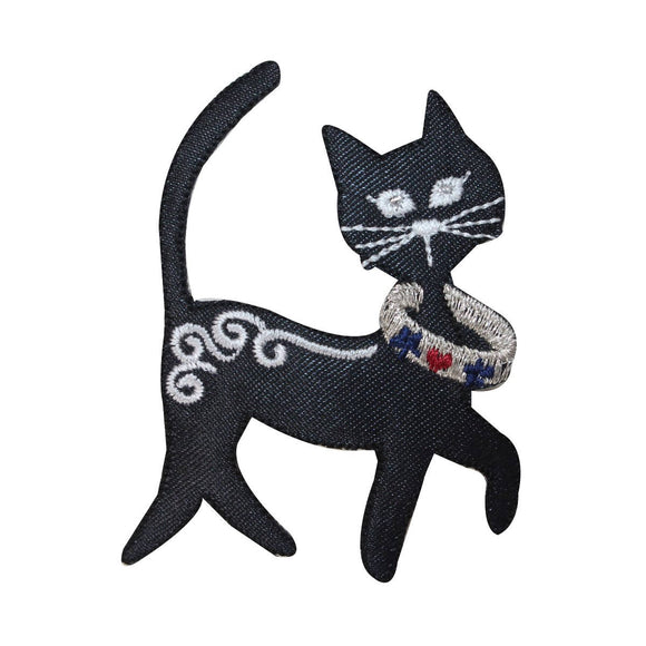 ID 2886 Fancy Black Cat Patch Kitty Kitten Pet Embroidered Iron On Applique
