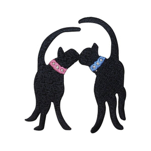 ID 2896 Pair of Black Cats Kissing Patch Kitten Love Embroidered IronOn Applique