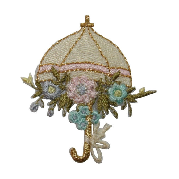 ID 7083 Umbrella With Flowers Patch Rainy Day Plant Embroidered Iron On Applique