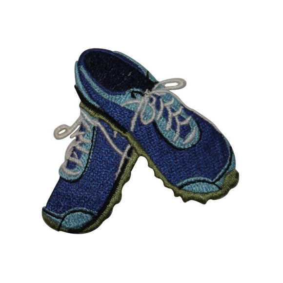ID 7370 Blue Tennis Shoes Patch Athletic Sneaker Embroidered Iron On Applique