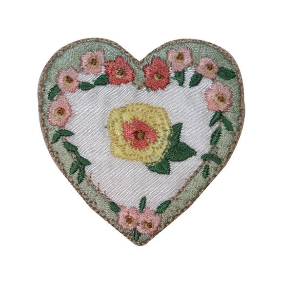 ID 3226 Floral Heart Patch Valentines Day Love Lace Embroidered Iron On Applique