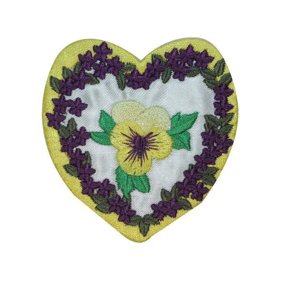 ID 3227 Heart With Flowers Patch Valentines Day Love Embroidered IronOn Applique