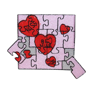 ID 3228 Valentines Day Puzzle Patch Heart Love Craft Embroidered IronOn Applique
