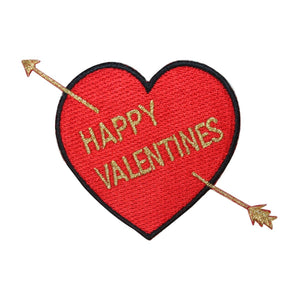 ID 3239 Happy Valentines Heart Patch Love Arrow Embroidered Iron On Applique