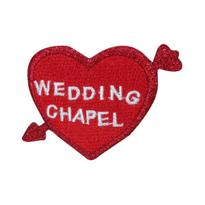 ID 3248 Wedding Chapel Heart Patch Valentines Day Embroidered Iron On Applique