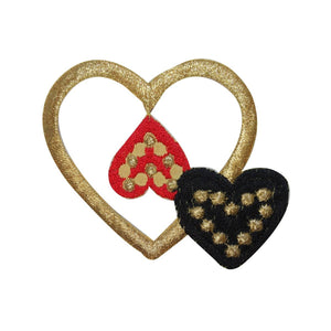 ID 3252A Golden Hearts Patch Valentine Day Love Embroidered Iron On Applique