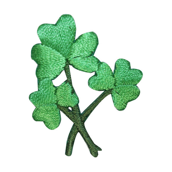 ID 3312 Three Leaf Clover Bunch Patch ST Patrick's Embroidered Iron On Applique