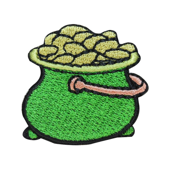 ID 3313A Pot Of Gold Patch ST Patrick's Day Coins Embroidered Iron On Applique