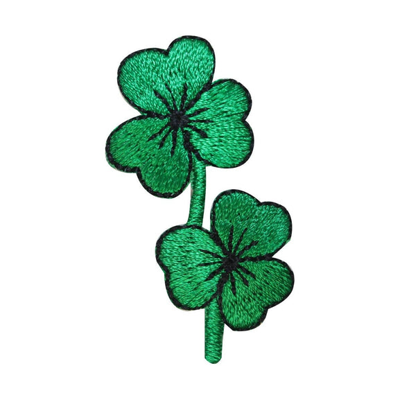 ID 3316 Pair of Three Leaf Clovers Patch Lucky Charm Embroidered IronOn Applique