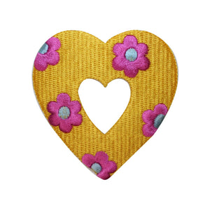 ID 3258A Flower Covered Heart Patch Valentine Day Embroidered Iron On Applique