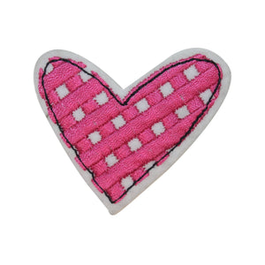 ID 3260B Checkered Heart Patch Valentine Day Love Embroidered Iron On Applique