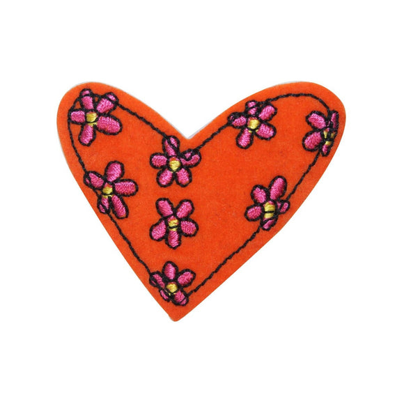 ID 3261B Felt Floral Heart Patch Valentine Day Love Embroidered Iron On Applique