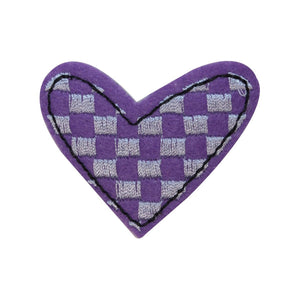 ID 3263A Checkered Heart Patch Valentine Day Love Embroidered Iron On Applique