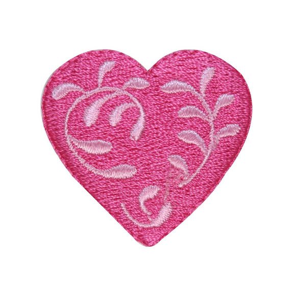 ID 3267B Floral Heart Patch Valentines Day Love Embroidered Iron On Applique
