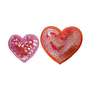 ID 3268AB Set of 2 Sequin Heart Patches Valentines Day Love Iron On Applique