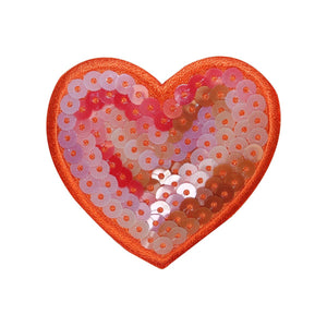 ID 3268A Sequin Heart Patch Valentines Day Love Embroidered Iron On Applique