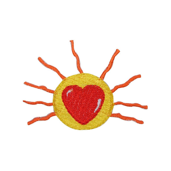 ID 3269A Sun Shine Heart Patch Sunrise Love Day Embroidered Iron On Applique