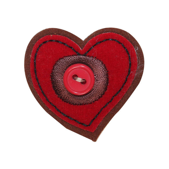ID 3270A Felt Button Heart Patch Valentines Day Love Embroidered Sew On Applique