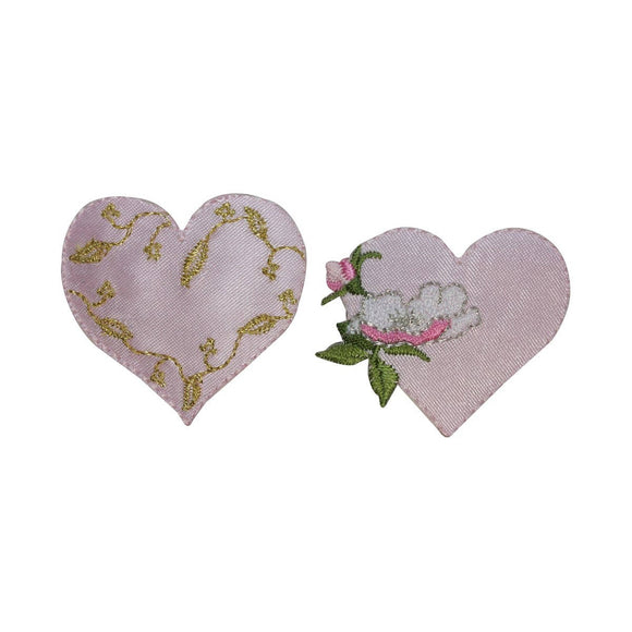 ID 3273AB Set of 2 Floral Heart Patch Valentine Day Embroidered Iron On Applique