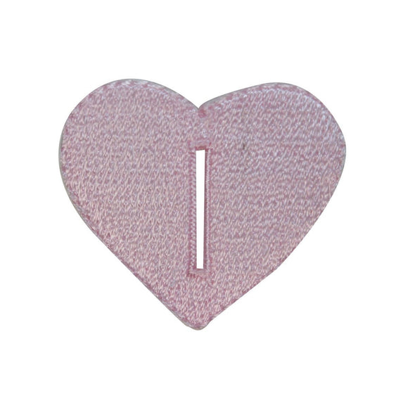 ID 3274B Heart Button Hole Patch Valentines Love Embroidered Iron On Applique