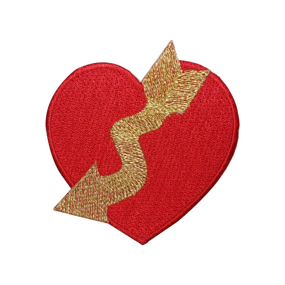 ID 3276A Heart With Arrow Patch Valentines Day Love Embroidered Sew On Applique