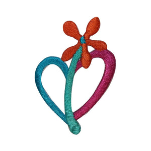 ID 3278C Heart Shape Flower Patch Spring Love Bloom Embroidered Iron On Applique