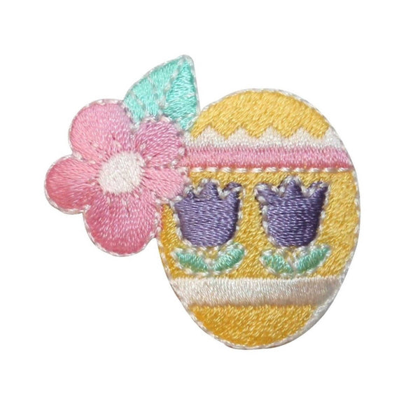ID 3350C Easter Egg With Flowers Patch Spring Basket Embroidered IronOn Applique