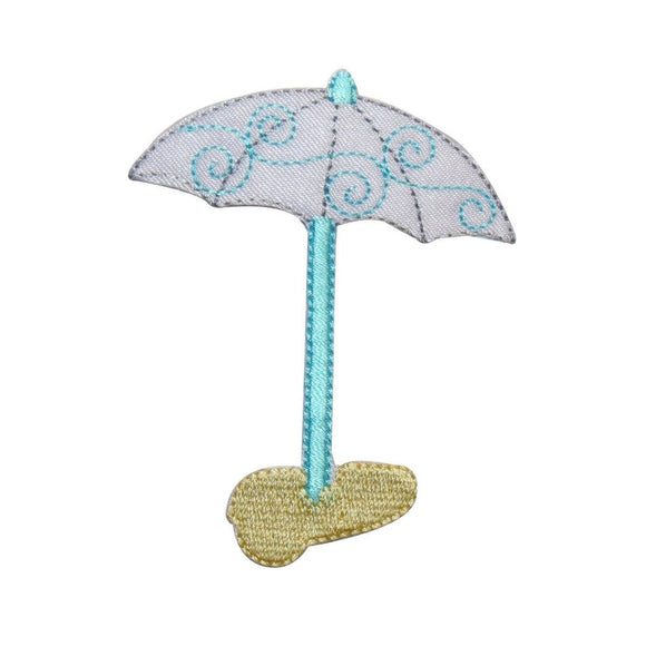 ID 3363 Beach Umbrella Patch Summer Sun Cover Ocean Embroidered Iron On Applique