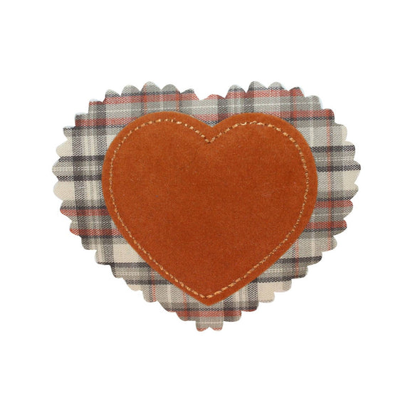 ID 3283A Plaid Felt Heart Patch Valentines Day Love Embroidered Iron On Applique