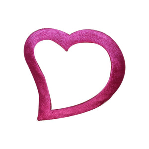 ID 3284A Heart Outline Patch Valentines Day Love Embroidered Iron On Applique