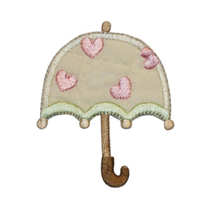 ID 3369 Love Umbrella Patch Rainy Day Heart Cover Embroidered Iron On Applique