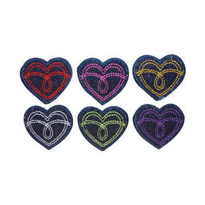 ID 3286A-F Set of 6 Jean Stitched Heart Patches Love Embroidered IronOn Applique