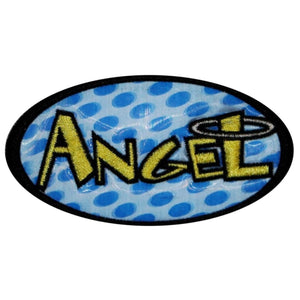 Angel Holographic With Halo Patch Girls Name Tag Embroidered Iron On Applique