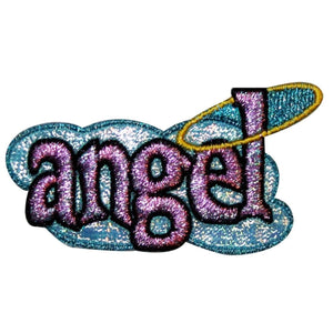 Angel Name Tag Badge Patch Girls Heaven Saying Sign Embroidered Iron On Applique