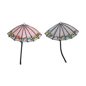 ID 3374AB Set of 2 Floral Umbrella Patch Rain Cover Embroidered Iron On Applique