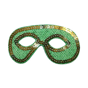 ID 3395 Mardi Gras Mask Patch Masquerade Disguise Sequin Iron On Applique