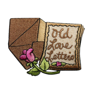 ID 7904 Old Love Letters Patch Rose Flower Pages Embroidered Iron On Applique